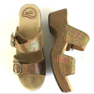 Dansko Sophie Leather Sandals Sparkly Size 38